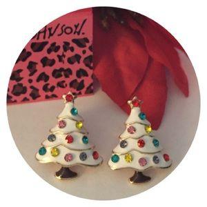 🆕🎄Beautiful White Enameled Earrings